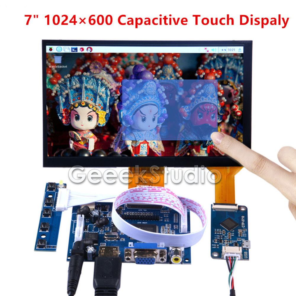 7 Inch 1024*600 Capacitive Touch Display Screen Monitor For Raspberry Pi 4B All Platfom/PC/BeagleBone Black Free Driver Plug