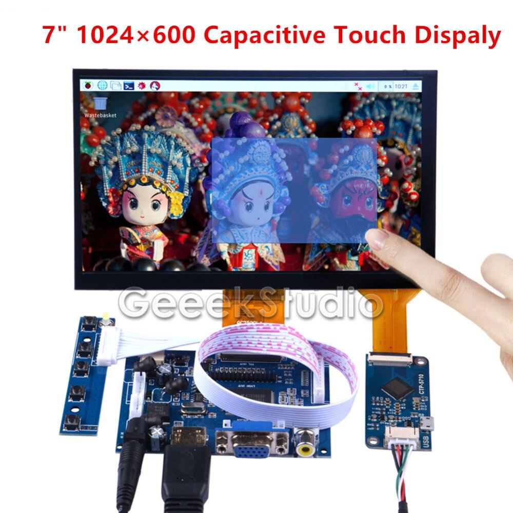 Moniteur capacitif d'écran d'affichage tactile de 7 pouces 1024*600 pour Raspberry Pi/Windows/Macbook/BeagleBone noir Plug Play de pilote libre