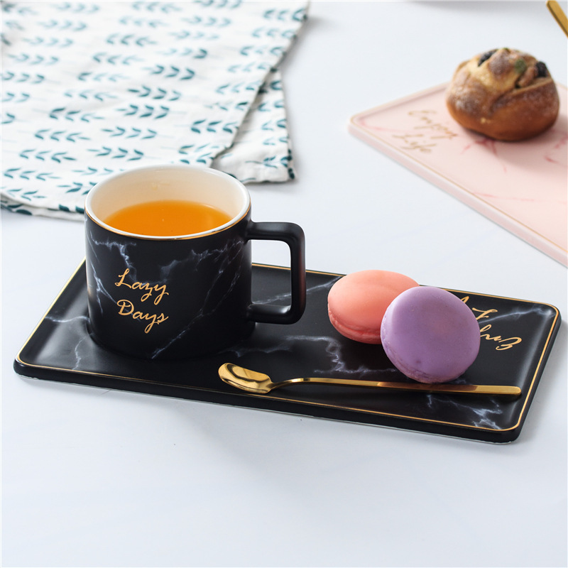 250ml Ceramic Marble Grain Coffee Cups Set Gold Office Milk Tea Cup with tray and spoon250ml Ceramic Marble Grain Coffee Cups Set Gold Office Milk Tea Cup with tray and spoon