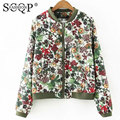 SCQP Floral Printed Ladies Jackets Slim Spring Pockets Zipper Office Bomber Jacket Women Fashion Cotton 2016 New Womens Jackets