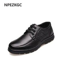 NPEZKGC Genuine Leather Men Casual Shoes Handmade Fashion Comfortable Breathable Men Shoes Comfortable Casual Shoes