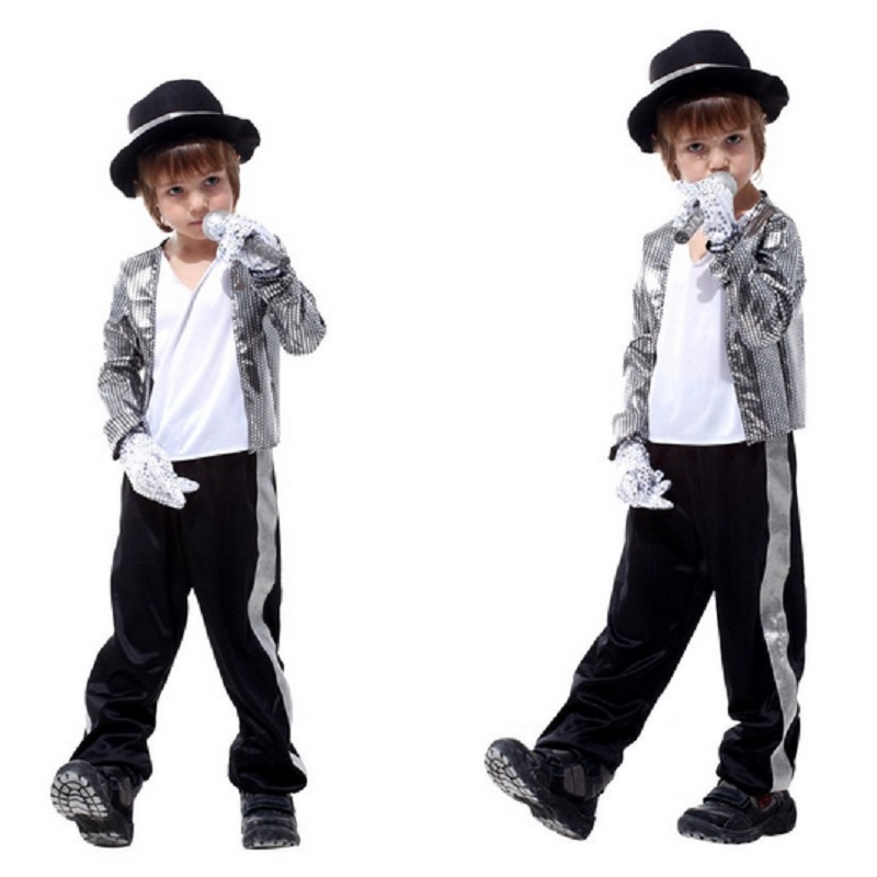 michael jackson jackets costumes for kids billie jean clothing boys glove  costume fedora hat black halloween b14929bd595
