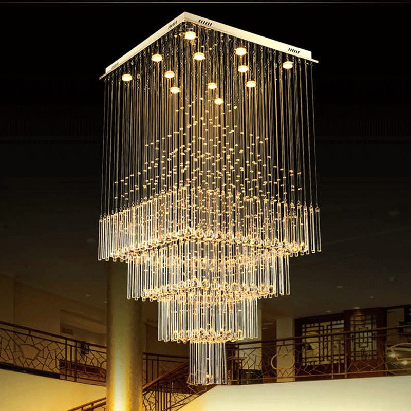 New hot k9 crystal chandelier lamp living room stairs led lights fashion lights