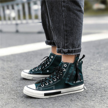 2019 The New zipper design high canvas shoes Men's shoes high top black lace up vintage cheap canvas boots round toe ankle 5