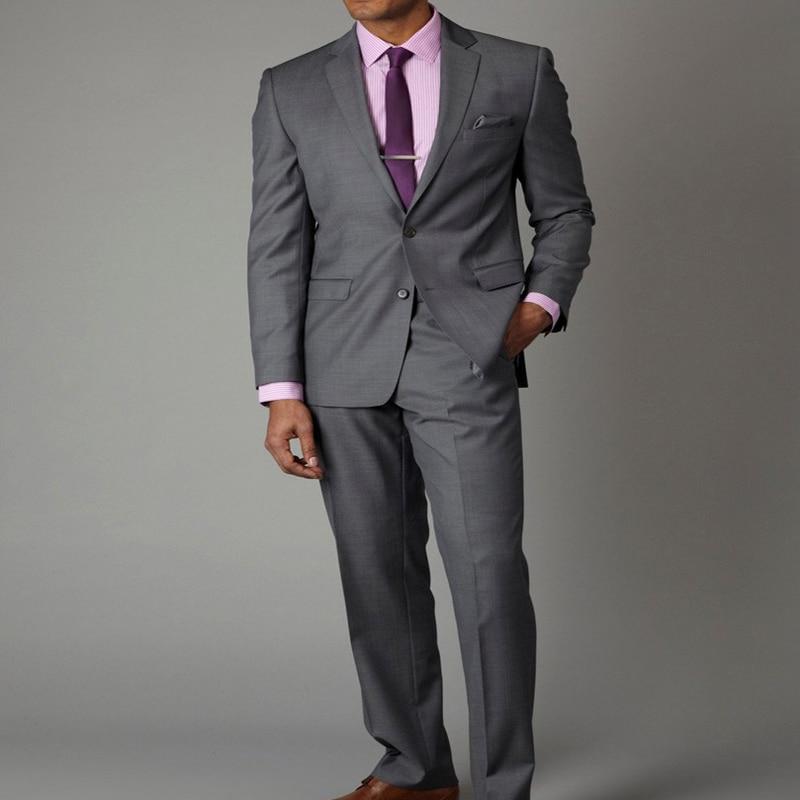 Gray Wedding Groom Tuxedos 2019 Slim Fit Gentleman Man Dress Notched Lapel 2 Piece Set Jacket Pants For Boyfriend Groomsmen Suit