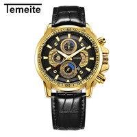 TEMEITE brand men wristwatch quartz genuine leather waterproof man watches calendar luxury mens watches brown black
