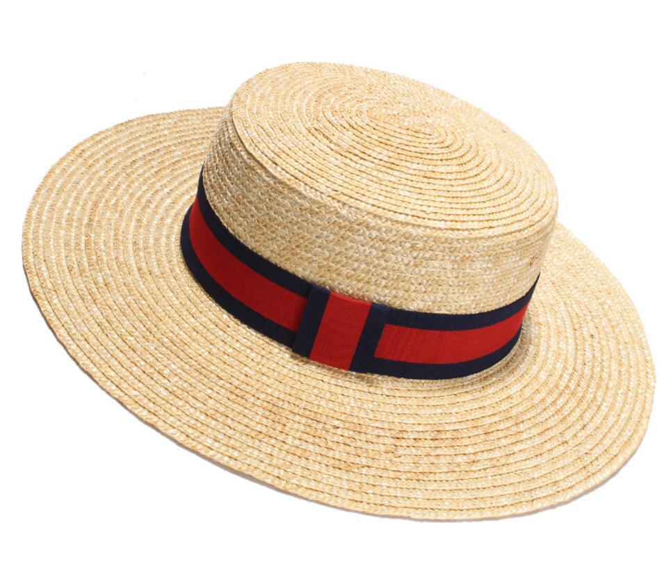 6pcs Classic Men Summer Nature Boater Hats Handmade Wheat Straw Hat for  Women Striped Ribbon Wide Brim Beach Sun Caps Wholesale 8ff4517c3f8b