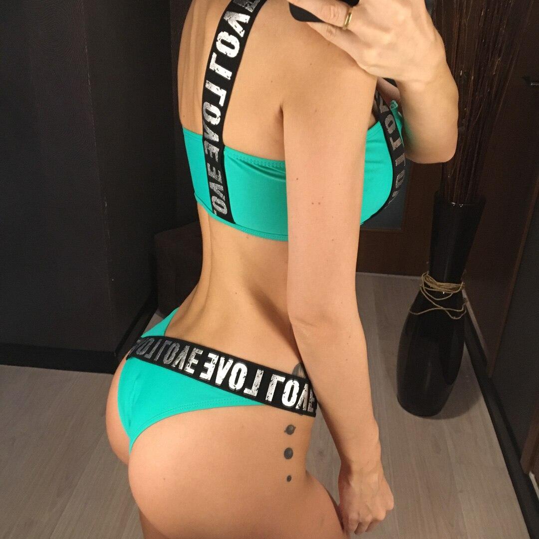 2019 Letter Printed Brazilian Bikini Women Swimwear Female Swimsuit Two-pieces Bikini set Lace Up Bather Bathing Suit Swim V1074