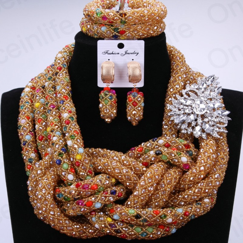 Luxury Bridal Jewelry Sets Gold Color African Beads Jewelry Set Silver Leave Pin Nigerian Necklaces Set For Women Free Shipping free shipping china manufacturer sell jewelry set italian gold color jewelry sets bridal elegant jewelry set