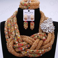 Luxury Bridal Jewelry Sets Gold Color African Beads Jewelry Set Silver Leave Pin Nigerian Necklaces Set For Women Free Shipping