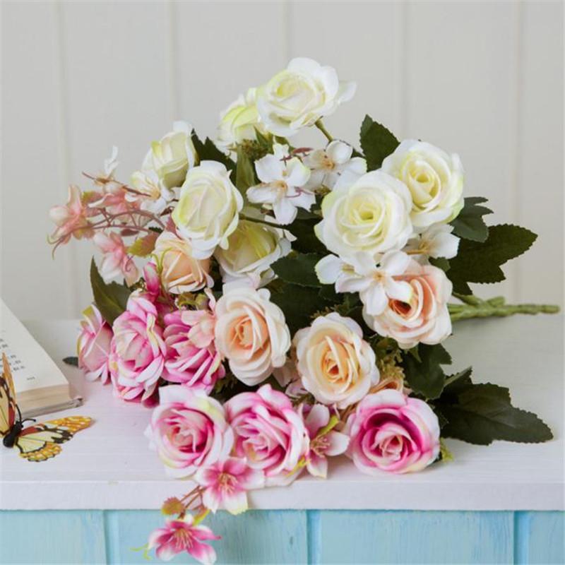 ARTIFICIAL SMALL ROSE BOUQUET BURGUNDY AND PINK 7 STEMS PER BUNCH