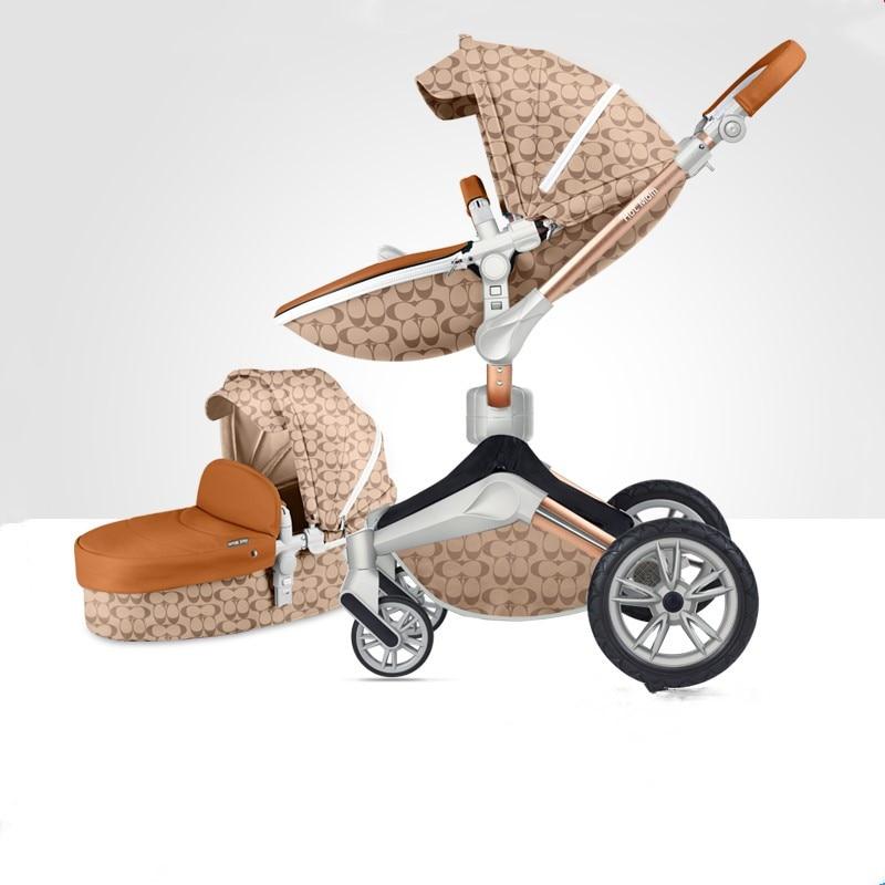 Babyfond Hotmom baby stroller EU Luxury high landscape baby pram 360 rotation light fold baby cart все цены