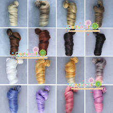 free shipping BJD/SD Doll Wigs/hair DIY High-temperature Wire Curly wave natural color Wigs Hair(China)