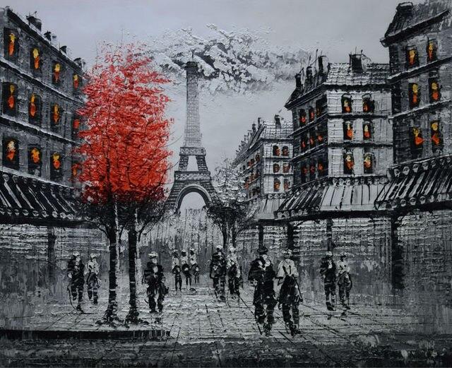 Pintado A Mano Paisaje Europeo Lienzo Pintura Blanco Y Negro Torre