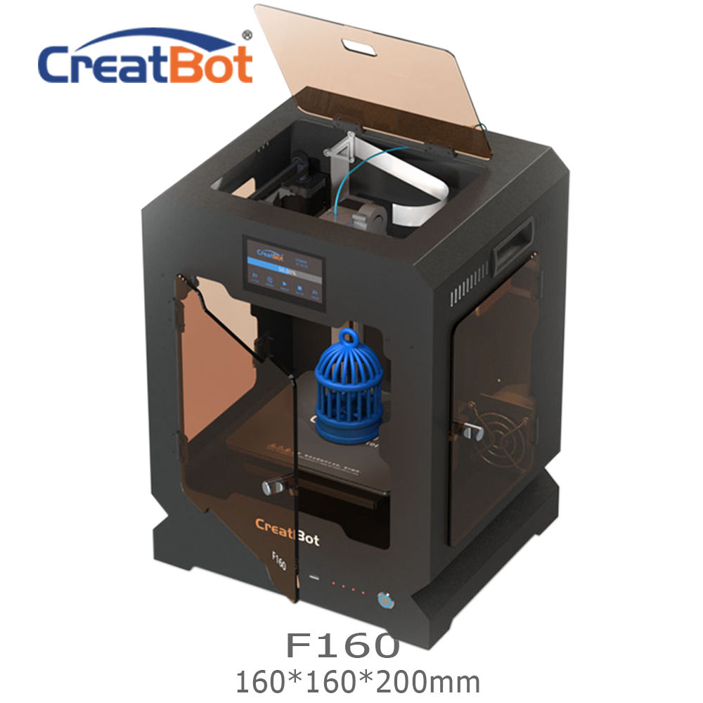 FREE SHIPPING F160 Single Extruder 160*160*200mm Creatbot 3d printer Metal Frame All closed heated room 1.75mm ABS Printing image