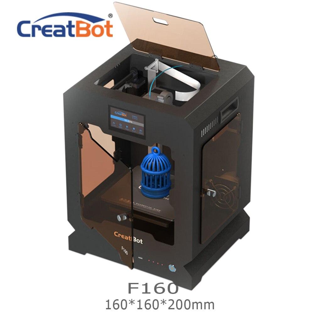 Livraison gratuite F160 simple extrudeuse 160*160*200mm Creatbot 3d imprimante cadre en métal tout fermé chauffé salle 1.75mm ABS impression