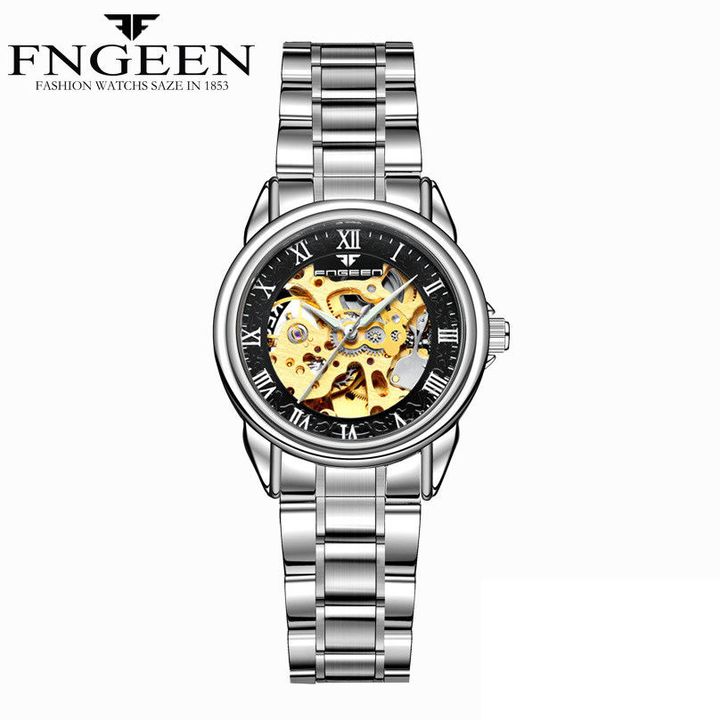 9909a8c9665 Movimento   Auto-refrigeração Automática. Mulheres Relógios mulheres  relógios esqueleto relógio mecânico ...