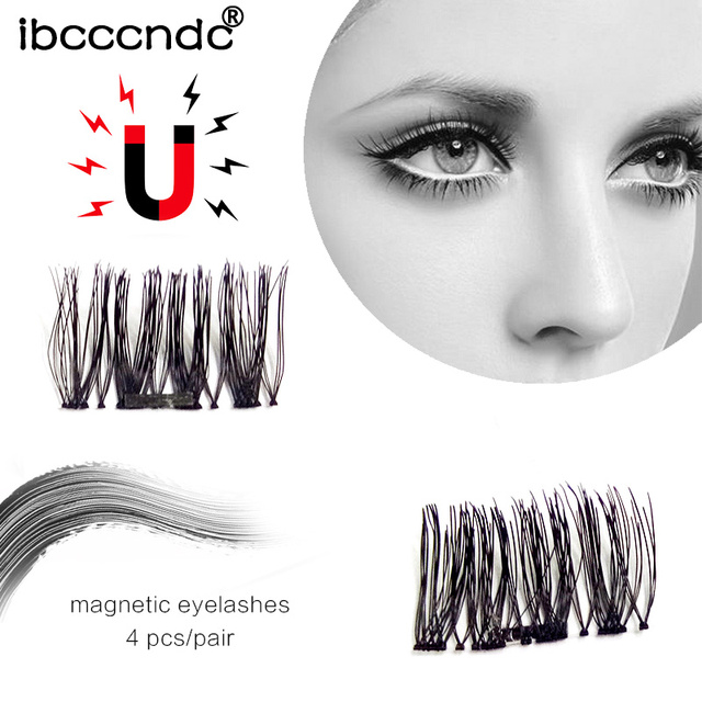 d480c52d7d7 4 Pcs/Pair Magnetic False Fake Eyelashes Soft Makeup One Magnet Eyelashes  Natural Eye Lashes
