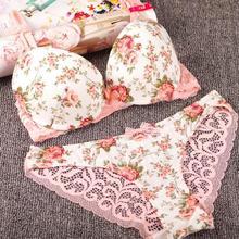 Women Sexy Print Bra Set Silk Lace Flower Push up Big Size Underwear Bowknot Bra and Hollow out Panties Vintage Lingerie Set