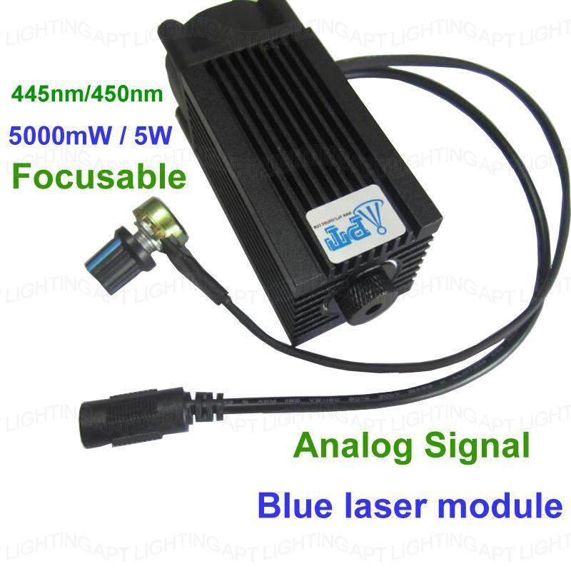 DIY CNC 5000mw/5w 450nm Focusable blue Laser Module diode laser cutting Engraving carving Machine Adjust  Power Analog signal