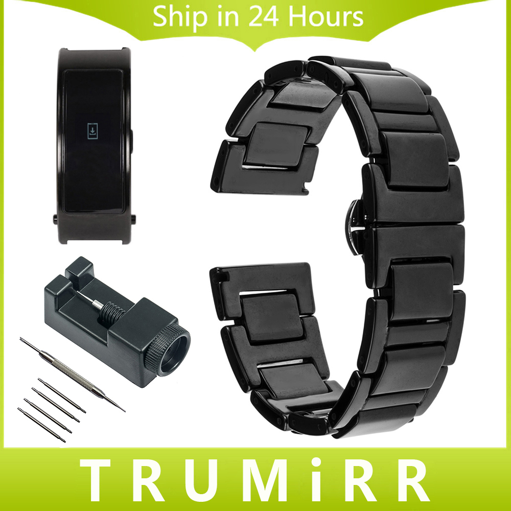 16mm Full Ceramic Watchband +Tool for Huawei Talk Band B3 Moto 360 2 42mm Women Watch Strap Butterfly Buckle Belt Wrist Bracelet 16mm 18mm 20mm full ceramic watchband for timex weekender expedition watch band wrist strap link bracelet upgraded tool pin