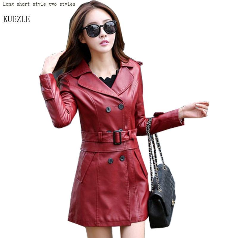 Autumn PU Fashion Plus Size M- 5XL Long   Leather   Jacket Women   Leather   Coat Female 2018 Spring Ladies   Leather   Jackets And Coats