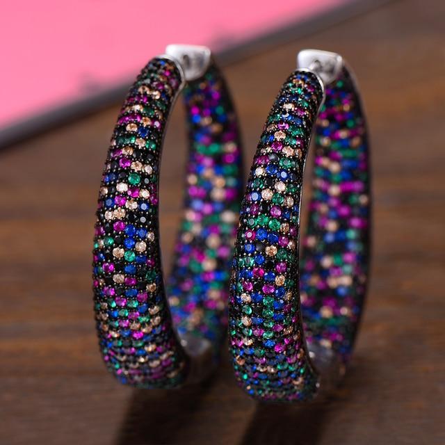GODKI 37mm Trendy Large Hoop Earrings Big Circle Earrings Cubic Zircon Brincos Celebrity Brand Loop Earrings for Women Jewelry
