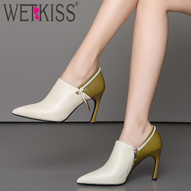 WETKISS Thin High Heels Women Pumps Pointed Toe Stitching Footwear Cow Leather Female Shoes Zip Office