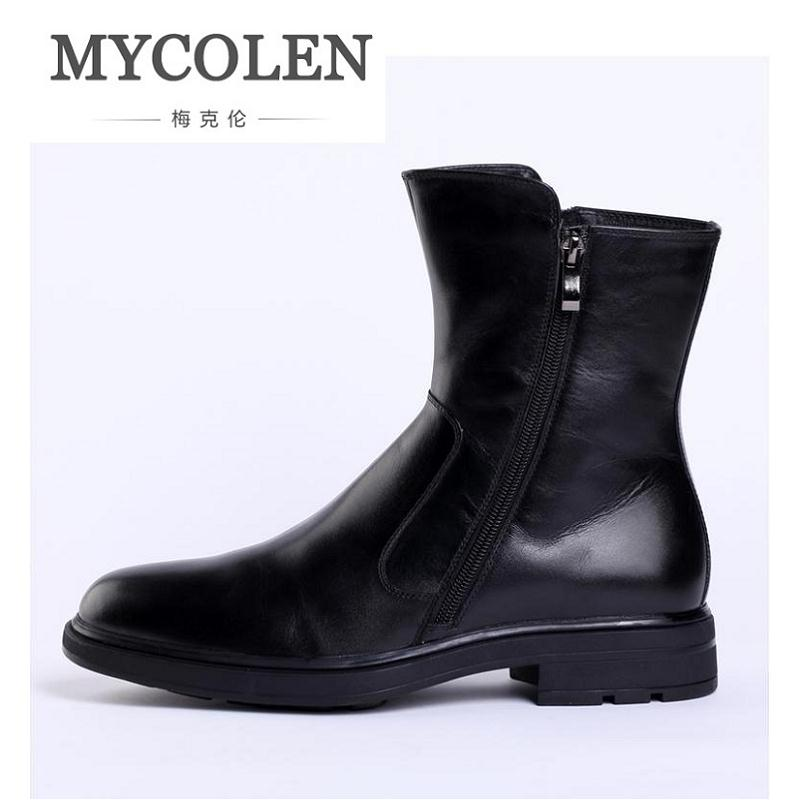 MYCOLEN Brand Men Winter Boots 2018 Keep Warm Plush Leather Ankle Boots Men Comfort Waterproof Boots Black Shoes Botas De Lluvia autumn warm plush winter shoes men zipper 100% genuine leather boots men thick bottom waterproof black high top ankle men boots
