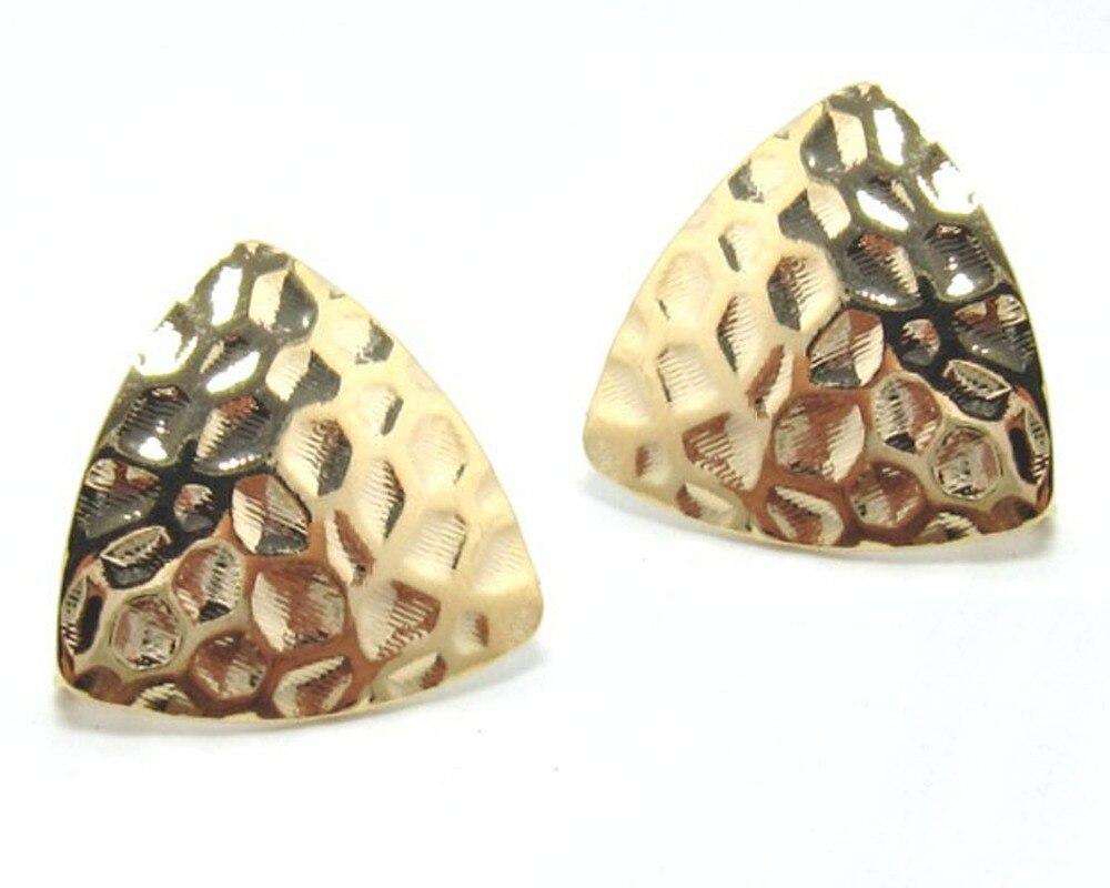 Pendiente de aro de triángulo enchapado en oro 17mm pendiente de oreja de triángulo G202 1 par de tapones de túnel de oreja de doble llamarada expansor de calibre de acero inoxidable estilo del ventilador del molino de viento Piercing de oreja Unisex