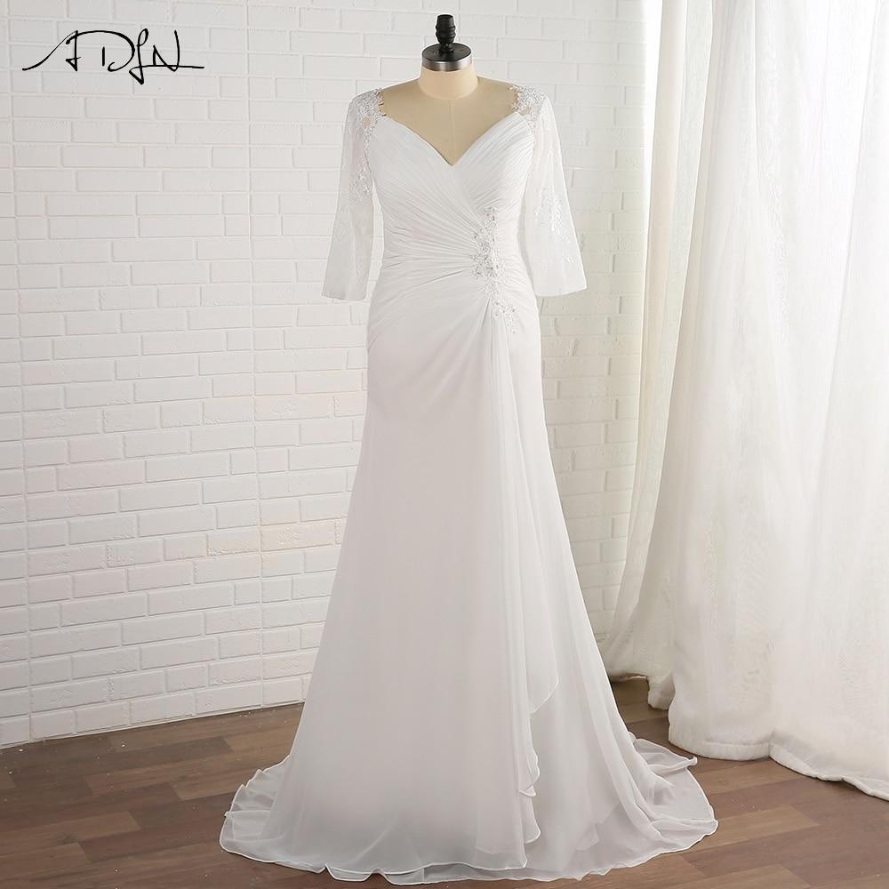 ADLN Plus Size Wedding Dress Beach Chiffon Vestido De Novia V-neck Lace Half Sleeve Bridal Gowns Back Lace-up