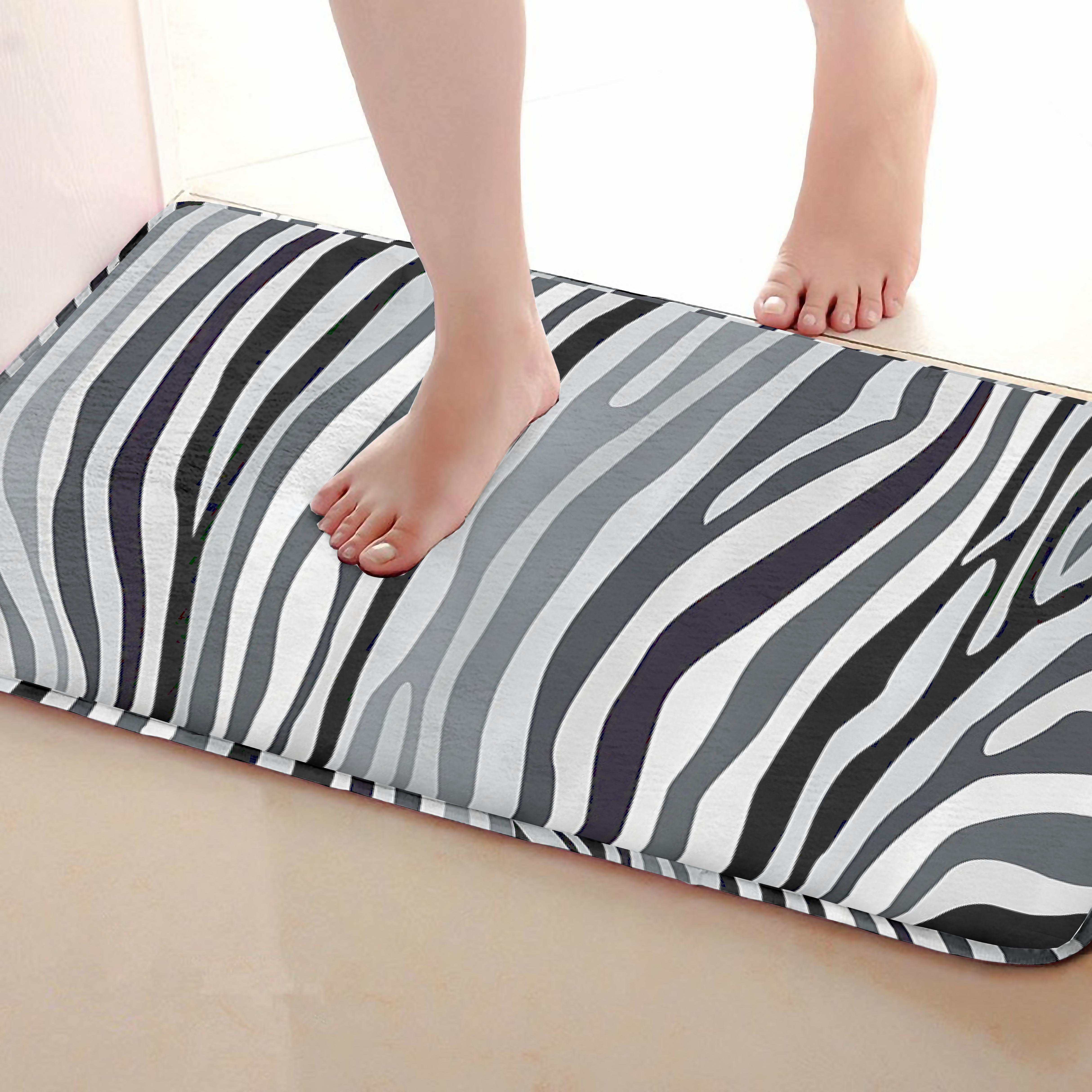 Zebra stripes Style Bathroom Mat,Funny Anti skid Bath Mat,Shower Curtains Accessories,Matching Your Shower Curtain