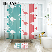 IBANO Flamingo Shower Curtain Waterproof Polyester Fabric Bath For The Bathroom With 12 pcs Plastic Hooks