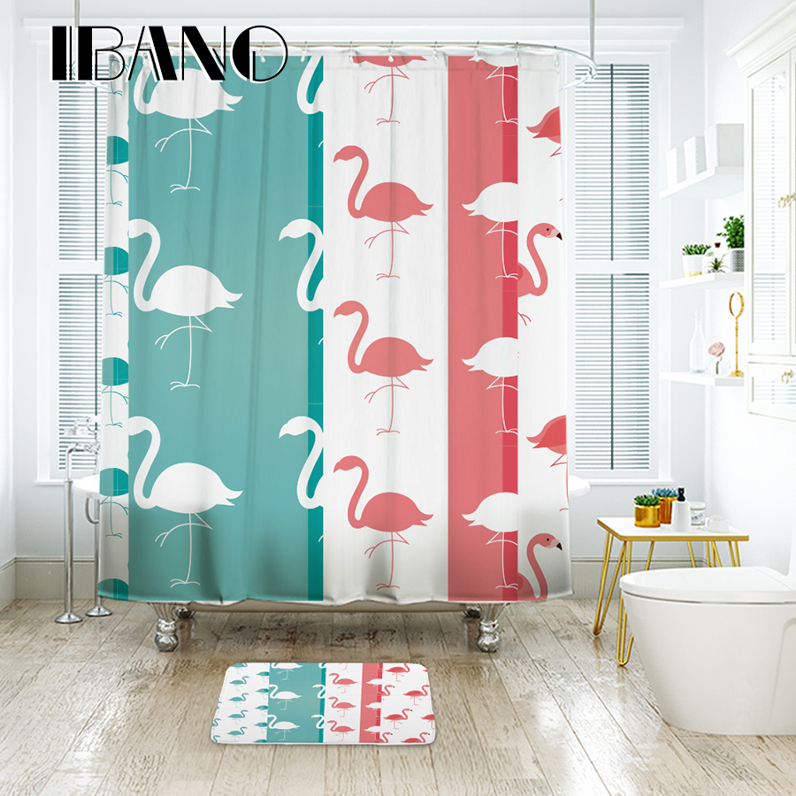 IBANO Flamingo Shower Curtain Waterproof Polyester Fabric Bath Curtain For The Bathroom With 12 pcs Plastic Hooks
