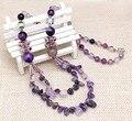 2016 de diseño de lujo natural amethyst beads piedra collares largos de mujer moda joyería de la boda accesorios envío gratis