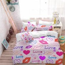 Girls Romantic Bedding Set Colorful Lips Heart Print Duvet Cover Letter LOVE King Queen Bedclothes 3Pcs D45
