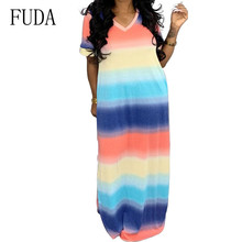 FUDA Summer Striped Bohemian Beach Long Dress Women Scoop Neck Sleeveless Bandage Maxi Dress High Waist Tie Up Party Vestidos cute sleeveless scoop neck striped flower embellished dress for girls