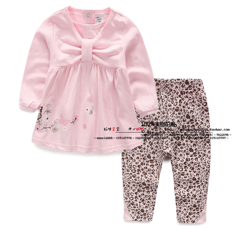 new 2015 spring autumn children clothing set baby girls cute Long sleeve T-shirts + kids Leopard print pants 2pcs suit