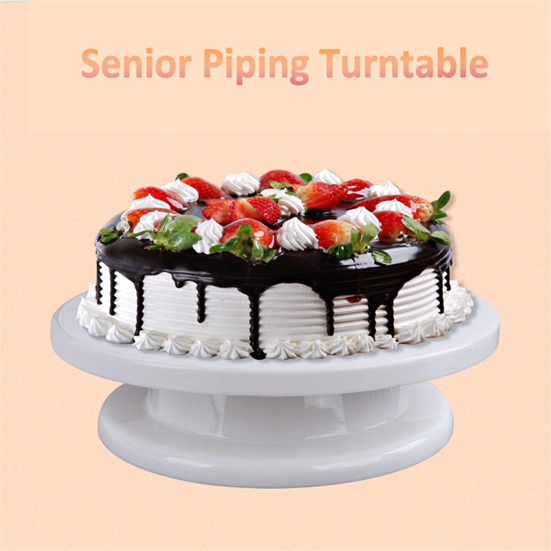 Revolving Cake Decorating Round Stand Turntable Rotating Tools Plastic 11 Angled Icing Spatula and Icing Smoother