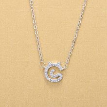 New Elegant Women 925 Sterling Silver Crystal Lovely Cat Pendant Necklaces Jewelry