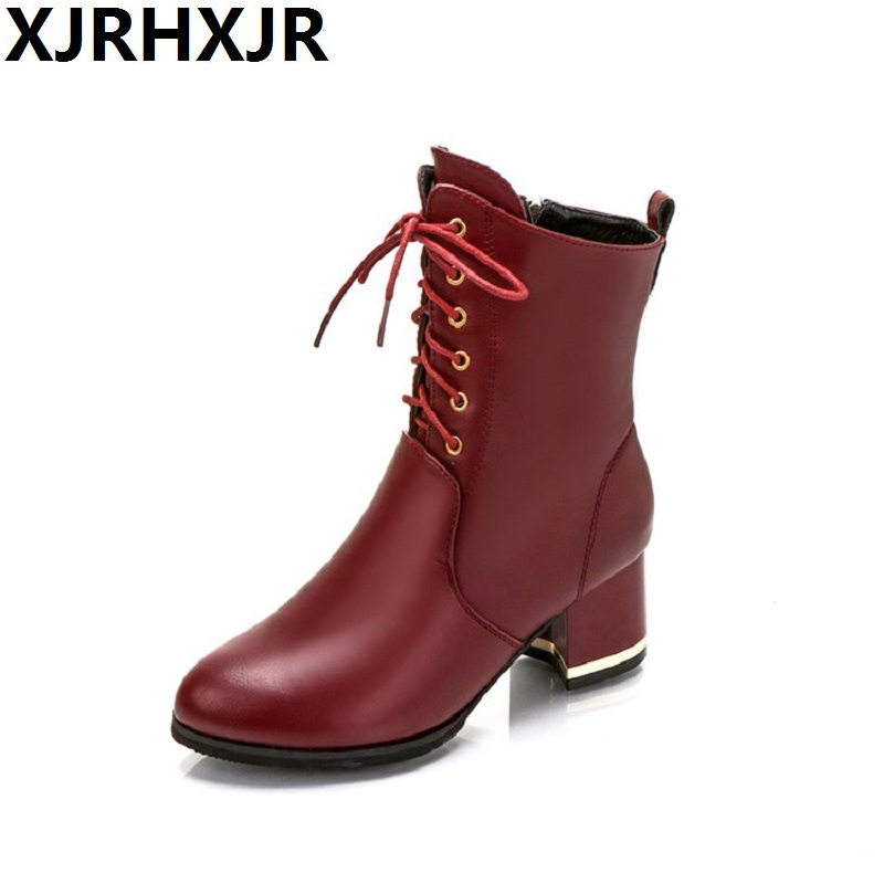 XJRHXJR Fall Women Boots Lace  Up Martin Boots 2017 Plus Velvet Winter Boots Thick Heels Pu Leather Shoes Mid-calf Fashion Boots 2017 autumn fashion boots sequins women shoes lady pu leather white boots bling brand martin boots breathable black lace up pink