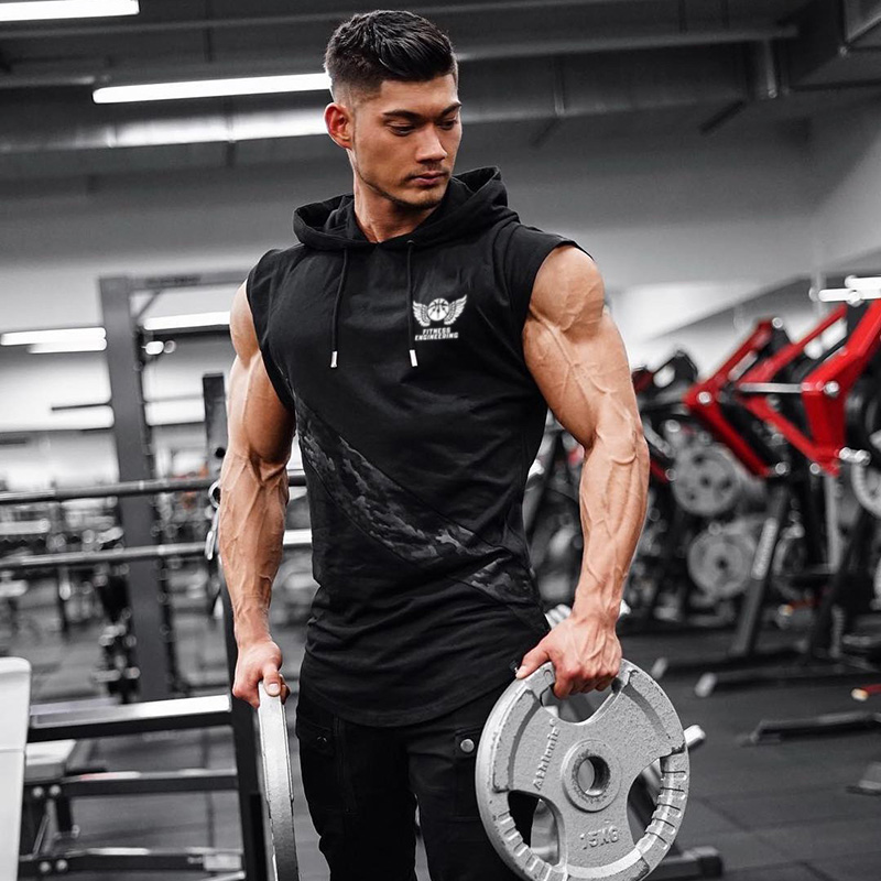 Men's Fit Sleeveless Hoodie Bodybuilding Gyms Tank Tops Crossfit Workout Sleeveless Jackets Terry Top Male