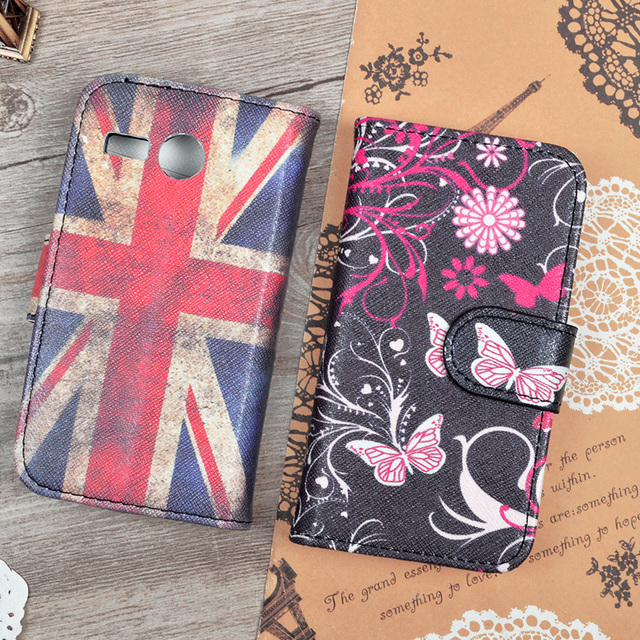 PU Leather Case For Lenovo A316 A316i Flip Cover For Lenovo A316 A316i 4.0inch Wallet Stand Phone Bags With Card Holder Painted