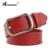 HIMUNU Cinturón de piel de Vaca de Alta Calidad para Las Mujeres Cuero Genuino Vaqueros Pin Hebilla Correas de Las Mujeres Cinturones de Moda de Cuero Rojo