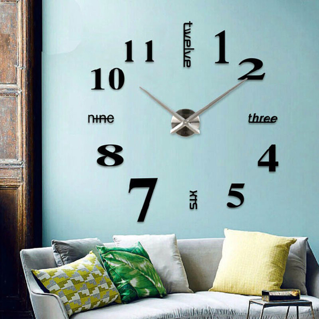 Muhsein  2017 New Metal  Home Wall Decoration  Wall Clock Wall Watch Large Stickers Mirror  Wall Clocks Free shipping