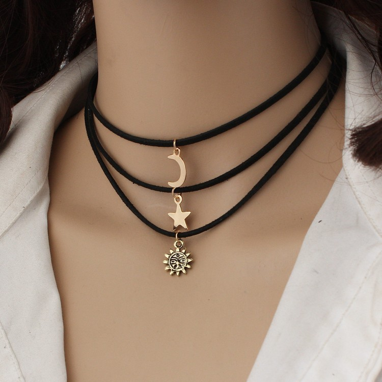 3pcs Europe Ad The United States Wild Multi-layer Velvet Necklace Star Moon Sun Dragon Short Necklace Jewelry Statement Necklace