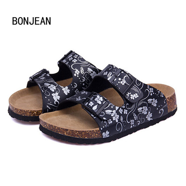 Women Shoes Sandals Slippers Summer Lady Flats Sandals Cork Slippers Casual Shoes Mixed Colors Beach Slides Plus Size 35-42