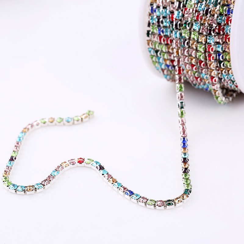 SS12 3mm D Claw Chain By Roll Mix Color Glass Rhinestone Chain Trim Sewing  Accessories Stone Chain 10yards lot-in Rhinestones from Home   Garden on ... 9de0db41b028