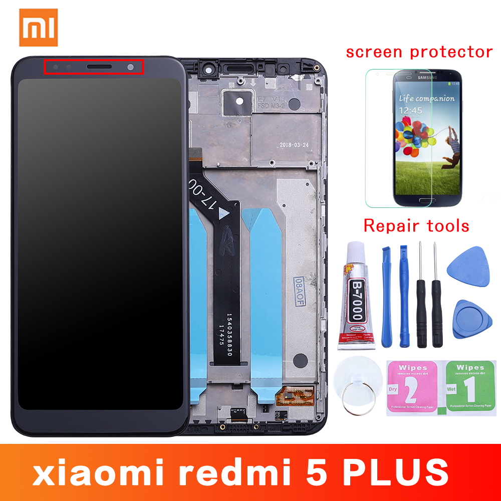 Xiaomi redmi 5 plus lcd 디스플레이 + 프레임 10 터치 스크린 redmi5 plus lcd 디지타이저 교체 수리 부품