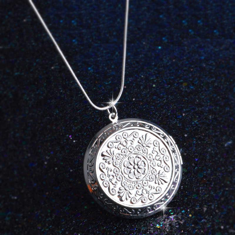 Earl Palace elegancki 925 srebrny łańcuszek okrągły wisiorek medalion naszyjnik zdjęcie kołnierz naszyjniki prezent na walentynki